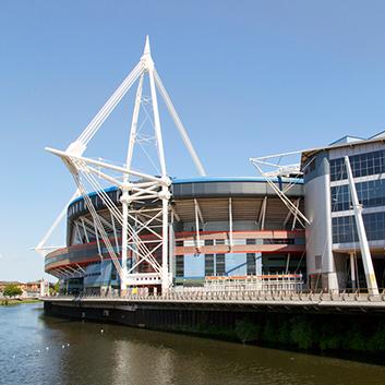 Principality Stadium Cardiff with a 74,000 capacity