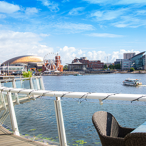 Dine on our terrace overlooking Cardiff Bay